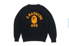 Chain Stitch College Logo Heavy Fleece Crewneck Sweatshirt by A Bathing Ape
