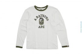 Kaws Bendy 1st Camo Liberty College Logo NY Long Sleeve Ringer Tee by A Bathing Ape x Kaws
