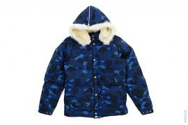 Color Camo Fur Covertible Hood Nylon Classic Down Jacket by A Bathing Ape