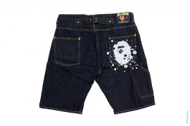 Splatter Apehead Raw Denim Shorts by A Bathing Ape