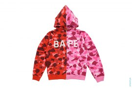 1st Camo BAPE Logo Full Zip Split Hoodie by A Bathing Ape