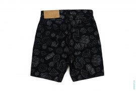 Wireframe Diamond & Dollar Color Denim Shorts by BBC/Ice Cream