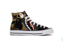 Half 1st Camo Shark Apesta Side Zip Chucks High-Top Sneakers by A Bathing Ape