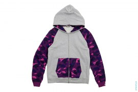 Color Camo Sleeve & Pocket Raglan Full Zip Hoodie by A Bathing Ape