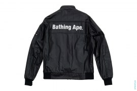 Twinsta Bathing Ape Embroidered Leather Motorcycle Jacket by A Bathing Ape