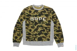 Glow In The Dark BAPE Logo 1st Camo Solid Accent Crewneck Sweatshirt by A Bathing Ape