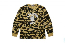 Ultimate 1st Camo Cracked Print College Logo Long Sleeve Tee by A Bathing Ape