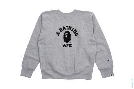 College Logo Reverse Weave Crewneck Sweatshirt by A Bathing Ape x Champion