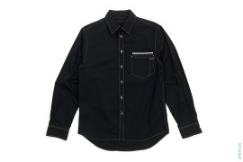 Contrast Stitch Chomper Pocket Button-Up Shirt by OriginalFake