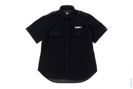 Bape Hook & Loop Flannel Short Sleeve Button-Up Shirt by A Bathing Ape