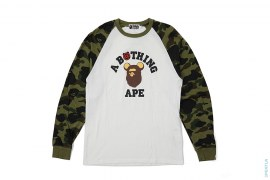 Be@rbrick 1st Camo Sleeve College Logo Raglan Long Sleeve Tee by A Bathing Ape x Medicom