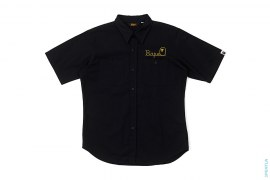 Chain Stitch Rope Logo Short Sleeve Button-Up Work Shirt by A Bathing Ape