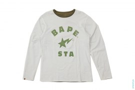 College Logo Felt Sta Reversible Long Sleeve Tee by A Bathing Ape