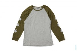 Sta Sleeve Busy Works Apehead Logo Raglan Long Sleeve Tee by A Bathing Ape
