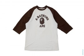 College Logo Raglan 3/4 Sleeve Tee by A Bathing Ape