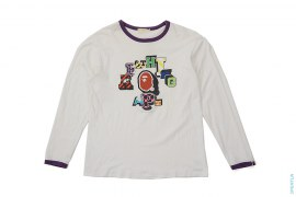 Block College Logo Long Sleeve Ringer Tee by A Bathing Ape