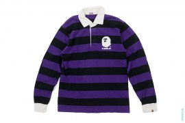 Classic Apehead Logo Long Sleeve Rugby Polo by A Bathing Ape