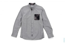 Apehead Plaid Accent Chambray Button-Up Shirt by A Bathing Ape
