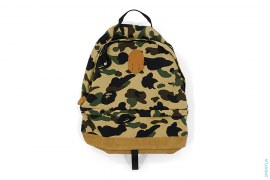 1st Camo Double Decker Suede Bottom Backpack by A Bathing Ape