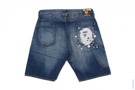 Splatter Apehead Vintage Wash Painter Denim Shorts by A Bathing Ape