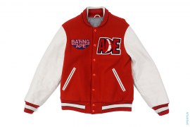 Classic Collection Beast Reign  Supreme Leather Varsity Jacket by A Bathing Ape